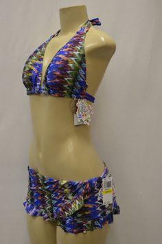 BECCA REBECCA VIRTUE Blue/Multi American Fit DD Cup 2PC Bikini Sz M
