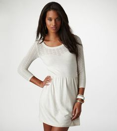 AE Crocheted Sweater Dress with a cute braided leather belt, leggings/tights and boots