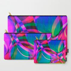Weave in the Breeze Carry-All Pouch by Vikki Salmela, #geometric #swirls #bright fun and colorful #art on #organizational #pouches for #cosmetics #cards #travel and a great #Mother's Day #gift for #her.