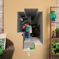 "Wall Decal Minecraft Wall Clings Mining 2 Pack 25x36"" New Licensed J4786 840285181441 