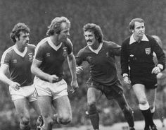 A snarling Terry McDermott against Ipswich.. the referee looks the most frightened.