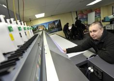 House of Flags, in Kimbolton, have a new state of the art printer, Print Operative Stephen Hall making some adjustments Large Format Printing, State Art, Flags, Printer, Ivory, House, Home Decor, Decoration Home, Home