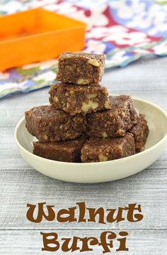Walnut burfi recipe - The QUICK Indian sweet recipe made with walnuts, coconut and condensed milk. This can be ready in just 15-20 minutes. It also has very subtle chocolate flavor.