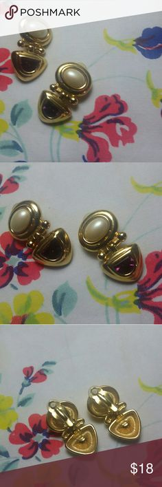 """Joan Rivers Classic Clip Earrings Beautiful Joan Rivers Clip On Earrings. Gold Tone with Faux Amethyst/Faux Pearls 1.5"""" Length. New without tags.  The Joan Rivers Name is hard to see but i assure you its there on the back. Thanks for taking a look♡ Joan Rivers Jewelry Earrings"""