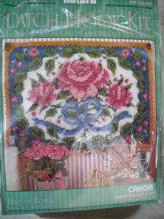 "Trio of Roses Latch Hook Rug Kit R700 Caron 20 x 27"" Opened & Started Has Yarn"
