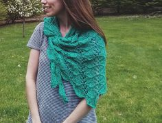 Debbie Jarmusik's finished Long-distance Shawlette  Shown in Bernat Cotton-ish by Vickie Howell, in color: Jade Jersey