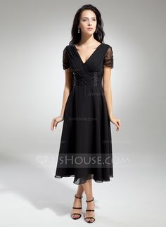 A-Line/Princess V-neck Tea-Length Chiffon Mother of the Bride Dress With Ruffle Beading (008014919)