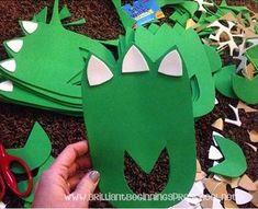 Make some slip on dinosaur feet with foam sheets!