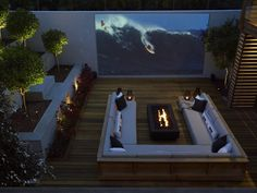 The Exterior Fire Pit Ring – Outdoor Kitchen Designs Outdoor Cinema, Outdoor Theater, Outdoor Fire, Backyard Movie, Backyard Patio, Outside Fire Pits, Outdoor Projector, Outdoor Kitchen Design, Home Theater