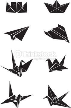 Vector Art : Origami paper boats, planes and cranes