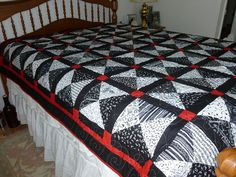 """Black and white and Red Musical Quilt - this is exactly what I need for our """"someday"""" bedroom!!"""