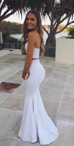 two piece white long prom dress evening dress, 2018 white mermaid long prom dress graduation dress