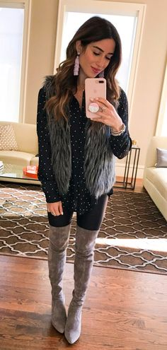 #winter #outfits  black and white polka-dot dress shirt, black leather leggings, and gray suede thigh-high heeled boots outfit