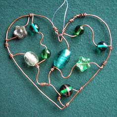 Green Heart - beaded sun catcher