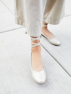 Vegan Hearts Flat | Classic and simple ballet flats featuring adjustable ties that wrap around the ankle.  * Padded footbed * Rubber treaded sole