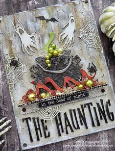 That's Life: The Haunting – great spooky card with Tim Holtz Halloween eleme… That's Life: The Haunting – eine großartige, gruselige Karte mit Tim Holtz Halloween-Elementen Halloween Quotes, Halloween Crafts For Kids, Halloween Cards, Fall Halloween, Halloween Ideas, Halloween Witches, Cardboard Crafts, Paper Crafts, Book Crafts