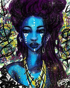 Beautiful art by // Black Girl Art, Black Women Art, African American Art, African Art, Dope Kunst, Illustrations, Illustration Art, Art Afro, Arte Black