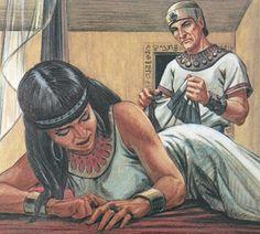 Josef ble slave i Egypt hos Potifar, som var sjef for livvaktene til farao. Potifars kone prøver å bli kjæreste med Josef, selv om hun var gift med Potifar. Når Josef nektet å være med på den slags utroskap, så løy hun om han å sa at det var han som hadde gjort noe galt å prøvd å bli kjæreste med henne. Da havner Josef i fengsel.