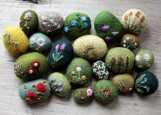 felted and embroidered wool stones