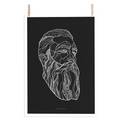 Paper Collective Bearded Man 1 poster ($51) ❤ liked on Polyvore featuring home, home decor, wall art, filler, paper wall art, paper poster and friends poster
