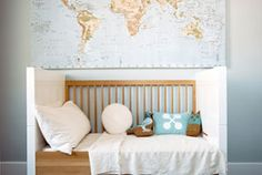 Map in boy's room.  Interior Design by Brad Ford