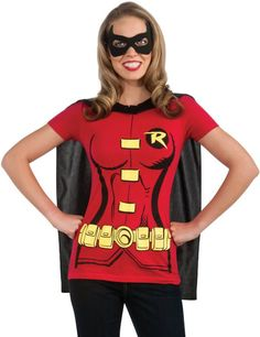 Women's DC Comics Robin T-Shirt With Cape And Eye Mask $17.25