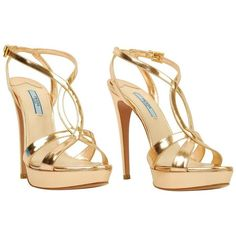 PRADA Rose Gold Strappy Sandal ❤ liked on Polyvore