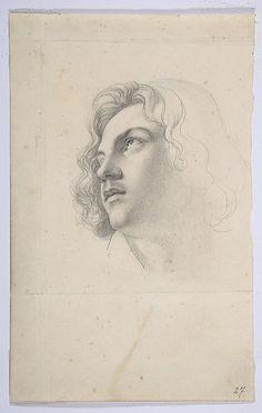Heinrich Karl Anton Mücke (German, 1806–1891)  Portrait of Alfred Rethel, Looking Up  Graphite