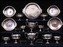 Ancient Pompeii silverware (The Moregine Silver Treasury). A set of ancient silverware discovered in Pompeii, the Roman city destroyed by a volcano in 79 AD. The hand-crafted goblets, plates and trays found bundled into a wicker basket by an inhabitant fleeing the erupting Mount Vesuvius.The tableware, well preserved in ash and mud, was discovered in 2002. The wicker basket and its contents were congealed into a solid block. Experts separated the silverware and removed the heavy…