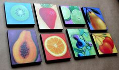 Items similar to Kitchen Folk Art Fruit Collection - Wood Mounted Prints of Original Paintings By Tamara Adams on Etsy Small Canvas Paintings, Small Canvas Art, Mini Canvas Art, Mini Paintings, Original Paintings, Fruit Painting, Painting For Kids, Diy Painting, Summer Camp Art