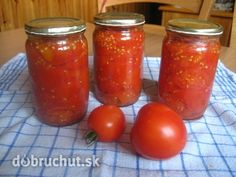 Zavárané paradajky Cooking Recipes, Healthy Recipes, Healthy Food, Salsa, Jar, Stuffed Peppers, Canning, Vegetables, How To Make