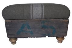 Crate Ottoman w/ Army Blanket Upholstery