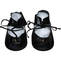 Black Oilcloth Shoes for Bisque, Hard Plastic, Composition Dolls