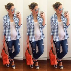 The look I plan to rock all spring. I have like 10 flannels lol Casual Maternity Outfits, Maternity Wear, Maternity Tops, Maternity Fashion, Pregnancy Wardrobe, Pregnancy Outfits, Mom Outfits, Baby Bump Style, Mom Style