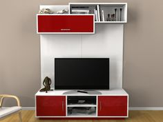 TV Stands with Media Storage by The Classy Home Tv Unit Bedroom, Tv Wall Decor, Tv Wall Design, Room Interior Design, Tv Cabinets, Furniture For Small Spaces, Dining Furniture, Furniture Makeover, Living Room Designs