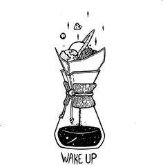Póster 'Wake Up Chemex Ink Illustration' de neomlei - Bullet journaling - Coffee Illustration, Art And Illustration, Ink Illustrations, Portrait Illustration, Natur Tattoo Arm, Art Sketches, Art Drawings, Sketchbook Drawings, Deco Cafe