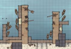 The Trade Port, a battle map for D&D / Dungeons & Dragons, Pathfinder, Warhammer and other table top RPGs. Tags: water, bridge, town, building, ship, shore, jetty
