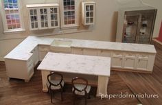 Paper Doll Miniatures: Easy Faux Marble Countertops Tutorial