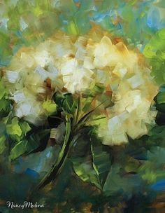 Blue Shadows White Hydrangeas by Texas Flower Artist Nancy Medina - Original Fine Art for Sale - © Nancy Medina