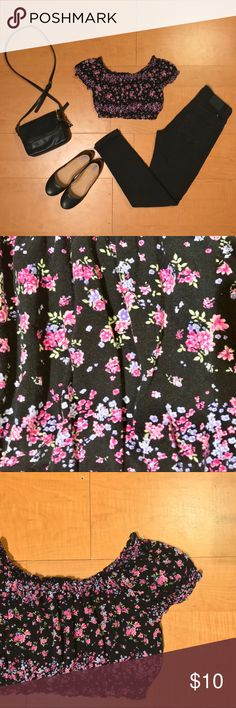 Floral Crop Top Black crop top with pink and purple floral detailing. Worn once. Women's size 4. Fits small - might be better suited for a sz. 0-2. H&M Tops Crop Tops