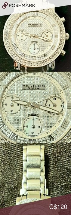 Exquisite Authentic Diamond And Mother Of Pearl Ak High End Watches, Mother Pearl, Making Out, Gold Watch, Sparkles, Diamonds, Women Jewelry, Mint, Stainless Steel
