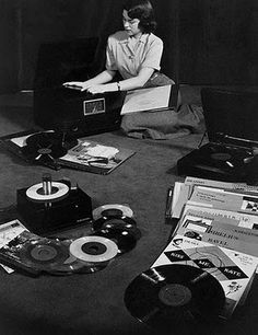 girl with vinyl records.
