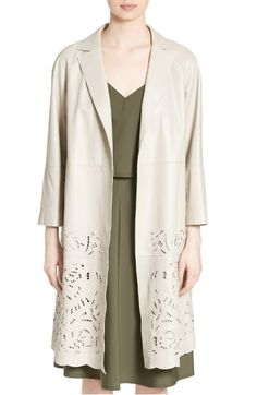 Main Image - Lafayette 148 New York Delcy Embroidered Leather Topper