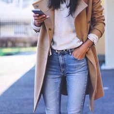 Winter fashion, fashion 2016. Denim, jeans, jacket, camel, brown, sweater, girl, chic.