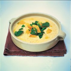 Roasted sweet garlic, bread and almond soup a really good unusual soup, by Jamie O
