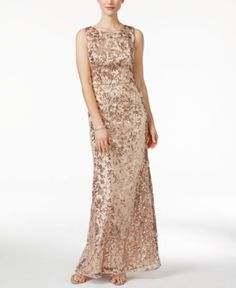 Vince Camuto Sleeveless Sequined Gown - Dresses - Women - Macy's