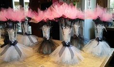 Tutu vase centerpieces with tulle flowers perfect for a table centerpiece for a baby shower birthday party or wedding centerpiece