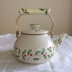 Lenox China Holiday Holly Christmas Tea Kettle Discontinued Teapot Japan | eBay