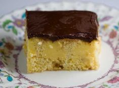Boston Creme Poke cake: After making a gelatin poke cake and going on and about how I didn't like the lime flavor, I moved on to the pudding variation.  Much better!  Now I'm officially a poke cake fan.  The scratch poke cake was really good, but the point of poke cake i
