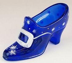 Fenton Slipper in Cobalt Cobalt Glass, Cobalt Blue, Ceramic Shoes, Glass Shoes, Fenton Glassware, Cinderella Shoes, Blue Things, Blue Dream, Glass Slipper
